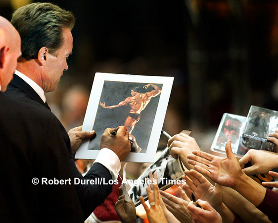 CONSTITUENTS --- Even though his message was serious - push the California Recovery Plan - newly elected Gov. Arnold Schwarzenegger frequently found himself surrounded by people who seemed to be bigger fans of Schwarzenegger the actor than Schwarzenegger the governor. Dozens held up photographs to be signed.