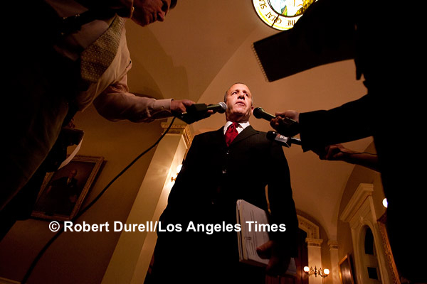 HALLWAY OF POWER --- Having worked in the Capitol for 10 years, I thought I know every inch of the building. When Senate President Darrell Steinberg stopped outside the main entrance to the Senate floor to talk about water issues, I opted for a low angle to emphasize his key role in the uphill battle, dropping to my knees. It was only then that my eyes caught a bright spot in the corner I had never noticed before: the illuminated seal of the State of California, which seemed to watch over the impromptu press conference. September 1, 2009
